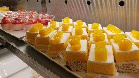 Cakes and pudding at sweets buffet